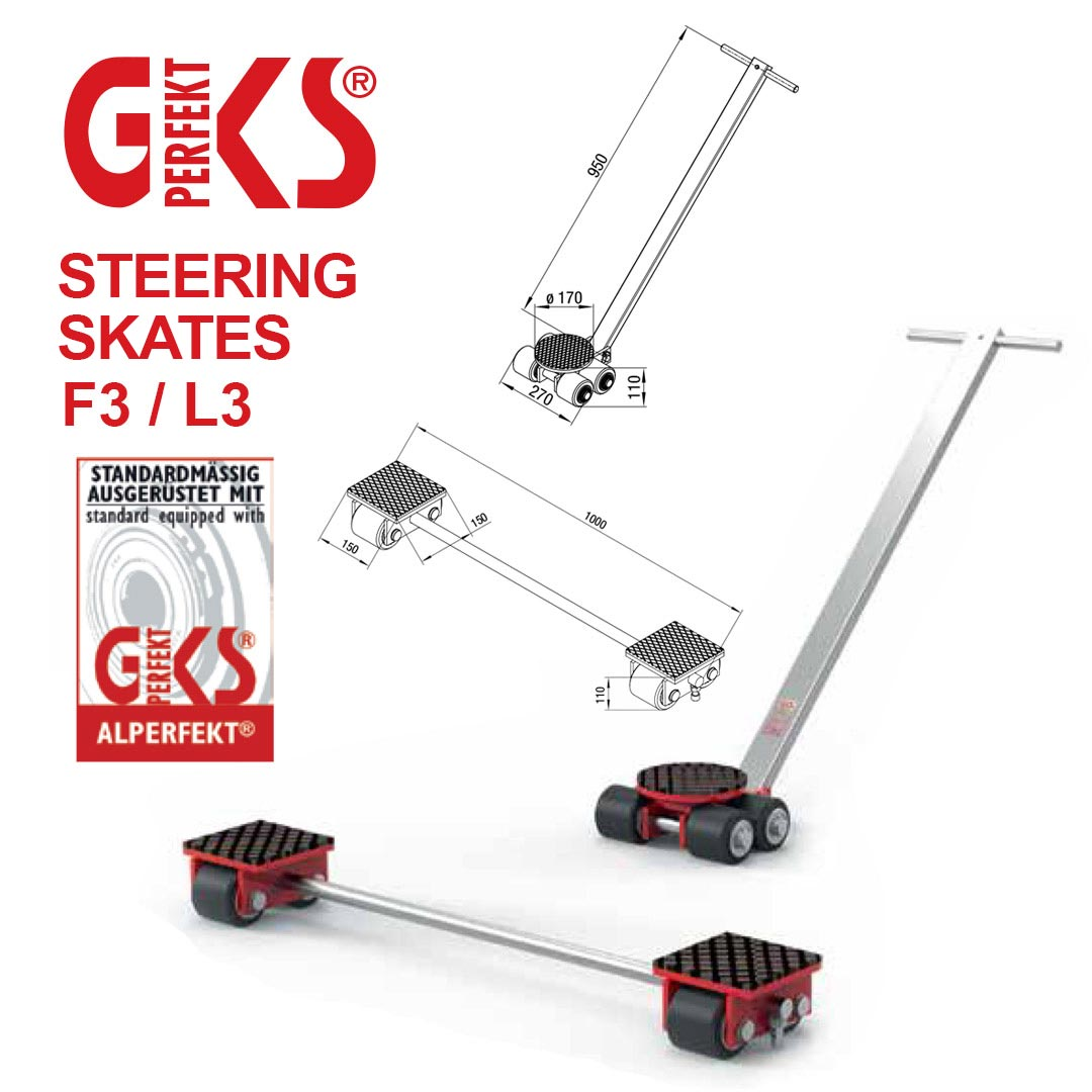 Steering skates, Steering skates for loads 6 tonnes